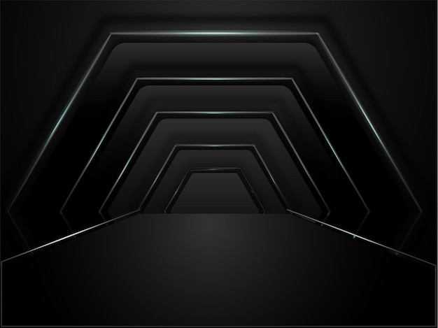 Abstract geometric hexagon tunnel background in black color.