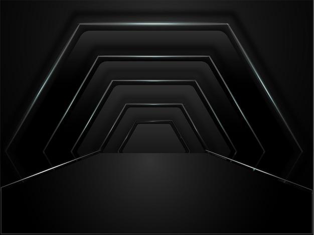 黒い色の抽象的な幾何学的な六角形のトンネルの背景。