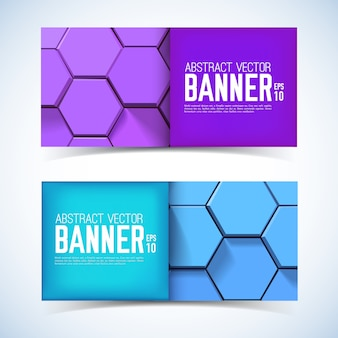 Abstract geometric horizontal banners with purple and blue 3d hexagons in mosaic style isolated