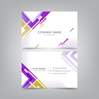Abstract geometric horizontal double-sided business card template