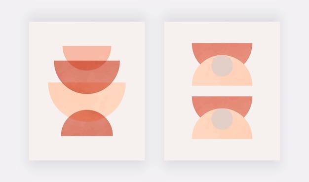 Abstract geometric illustration, neutral mid century art, boho decor