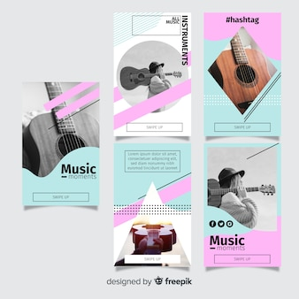 Abstract geometric instagram stories template colorful