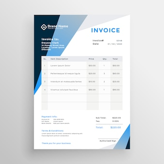 Abstract geometric invoice template design
