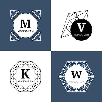 Abstract geometric jewel logos