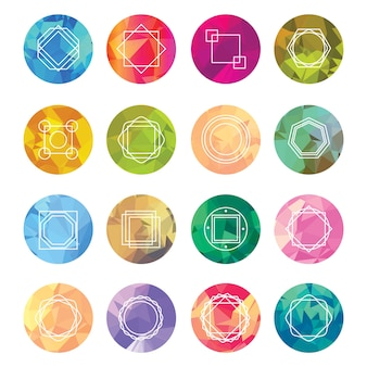 Abstract geometric labels set with logo icons