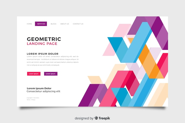 Abstract geometric landing page template
