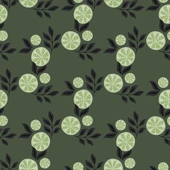 잎이 매끄러운 패턴으로 추상적인 기하학적 레몬 조각 장식입니다. 어두운 옅은 녹색 배경입니다. 재고 그림입니다. 섬유, 직물, 선물 포장, 월페이퍼에 대한 벡터 디자인.