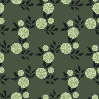 Abstract geometric lemon slice ornament with leaves seamless pattern. dark pale green background. stock illustration. vector design for textile, fabric, giftwrap, wallpapers.