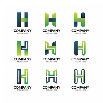 Abstract geometric letter h logo template