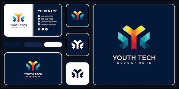 Abstract geometric letter y vector logotype. letter y tech logo design concept with business card