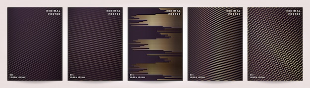 Abstract geometric line background set with style gold design.