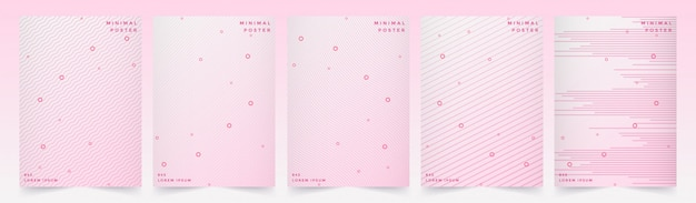 Abstract geometric line background set with style pink design.