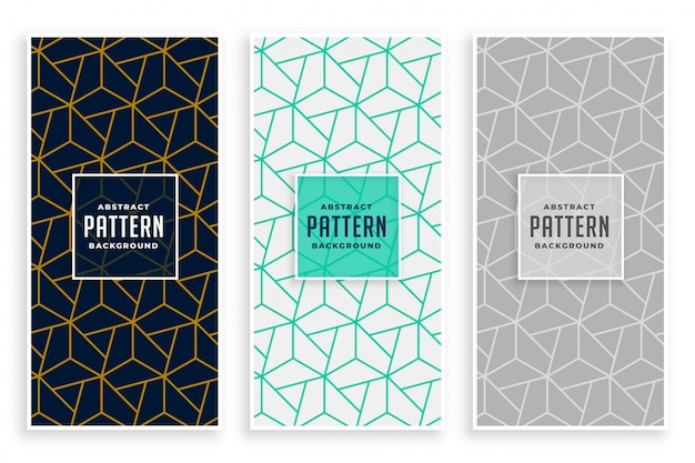Abstract geometric lines pattern banners set