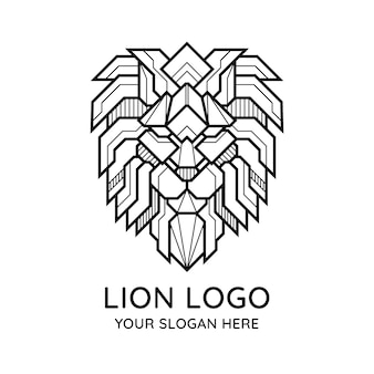 Abstract geometric lion face logo