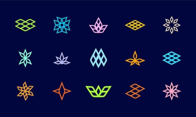 기술 회사 로고 템플릿에 적합한 추상적인 기하학적 로고 디자인 모음