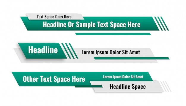Abstract geometric lower third banners set design