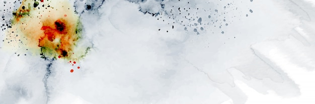Abstract geometric modern banner design combined with splatter hand-painted watercolor on white background.