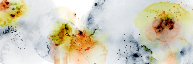 Abstract geometric modern design combined with splatter hand-painted watercolor on white background.