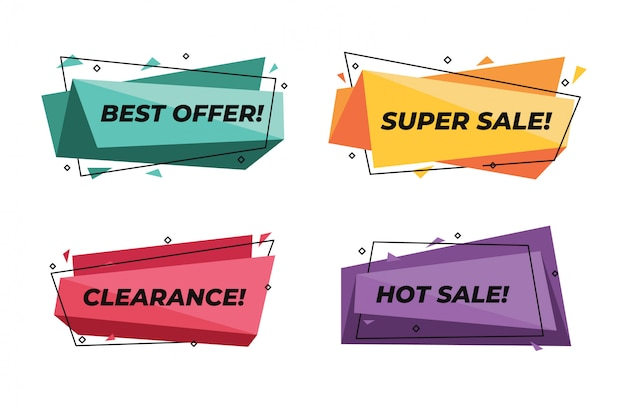 Abstract geometric modern sale banners set super discount price