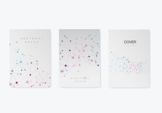 Abstract geometric molecule structure style cover set