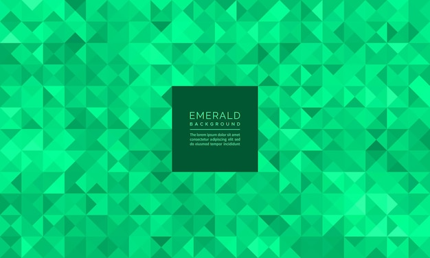 Abstract geometric mosaic glitter of green emerald pattern and background