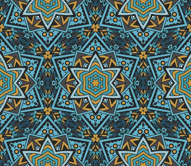 星と抽象的な幾何学的なモザイクパターン。シームレスな装飾的な背景のテクスチャ
