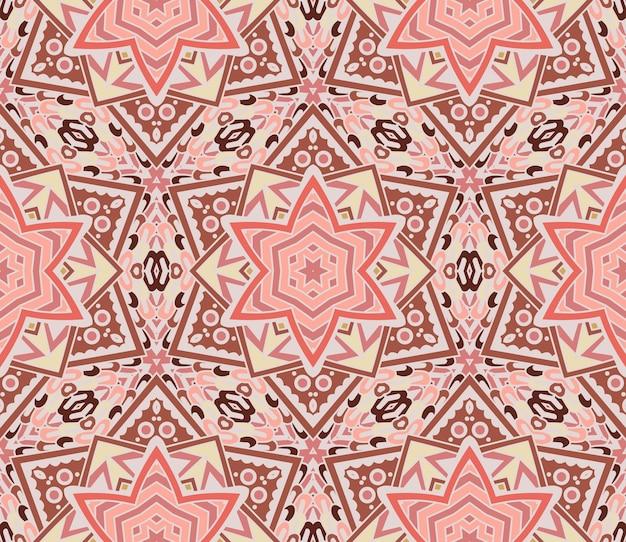 星と矢印の抽象的な幾何学的なモザイクピンクのパターン。シームレスな装飾的な背景のテクスチャ