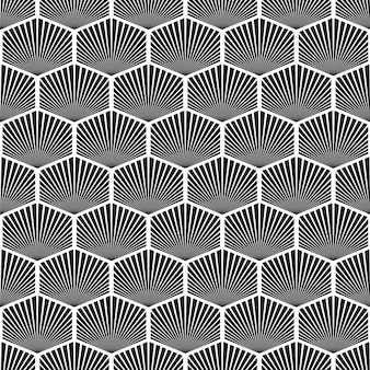 Abstract geometric mosaic seamless pattern with repeating hexagonal objects in monochrome style illustration