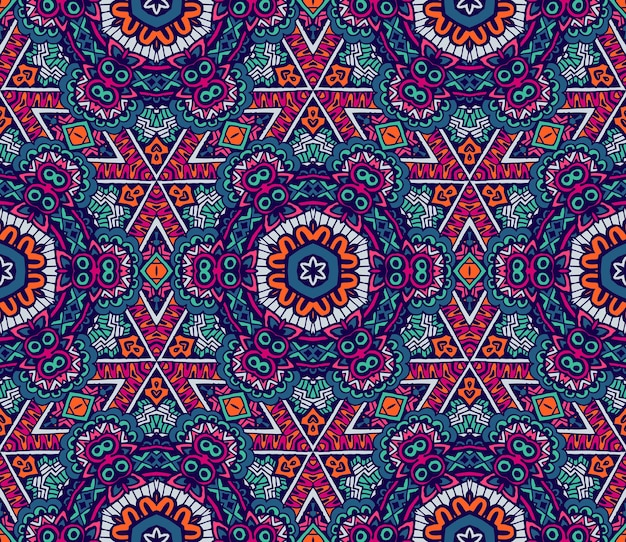 추상적인 기하학적 모자이크 빈티지 민족 원활한 패턴 장식