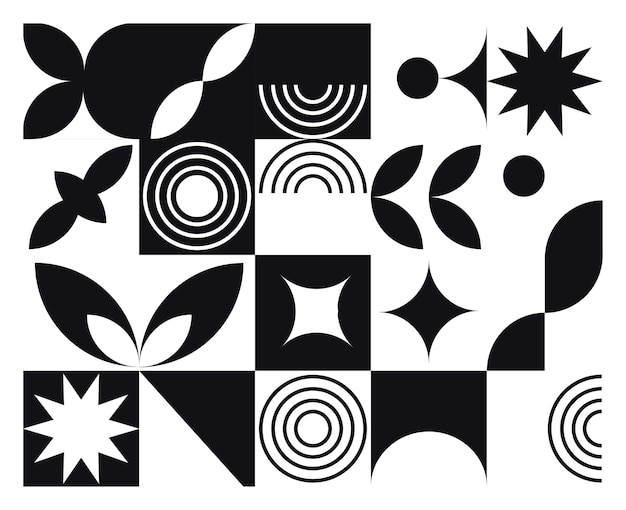 Abstract geometric mural black and white background in bauhaus style