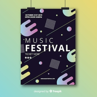 Abstract geometric music poster template