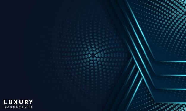 メタリックブルーの光と抽象的な幾何学的なネイビーブルーの抽象的な背景