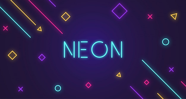 Abstract geometric neon glow background
