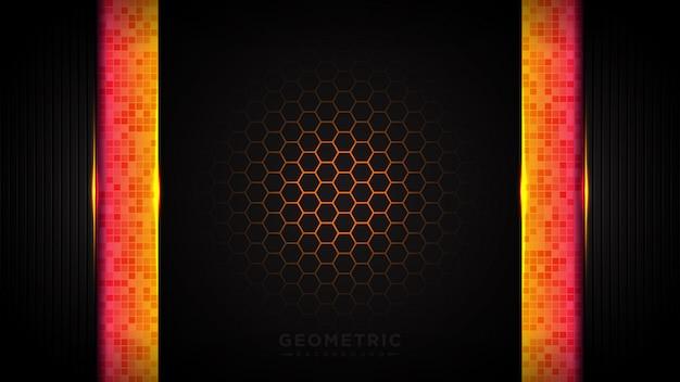 Абстрактный геометрический оранжевый фон. с шестигранной сотой красного света.