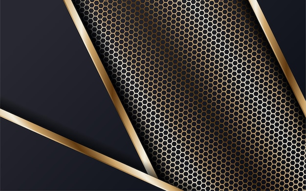 Abstract geometric overlapping on dark blue background with glitter and golden lines glowing dots