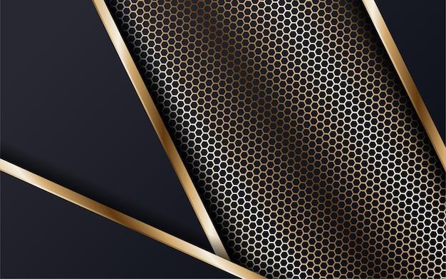 반짝이는 점과 황금색 선이 있는 짙은 파란색 배경에 추상적인 기하학적 겹침