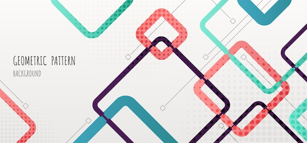 Abstract geometric pattern design of square elements template header. overlapping design with halftone style background
