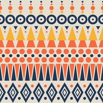 抽象的な幾何学模様。エスニックと部族のモチーフ。背景にオレンジ、黄色、青の要素。シームレスなベクトルイラスト。