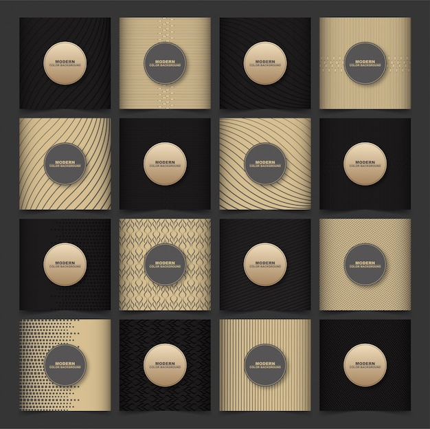 Abstract geometric patterns cover set with brown and dark color