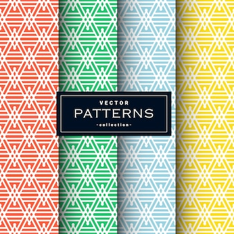 Abstract geometric patterns set in four colors