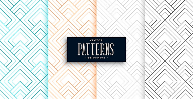 Абстрактные геометрические узоры в четырех цветах