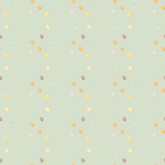 抽象的な幾何学的な水玉のシームレスなパターン。明るい青の背景に黄色、青、オレンジ、ライラックのドット。ファブリック、テキスタイルプリント、ラッピング、カバーの装飾的な背景。図。