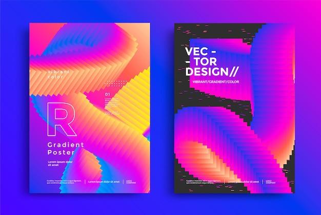 Абстрактный геометрический макет плаката с ярким градиентом размытия фона современный дизайн обложки шаблона