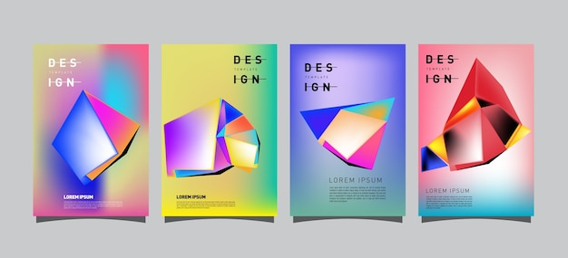 Abstract geometric poster set design template