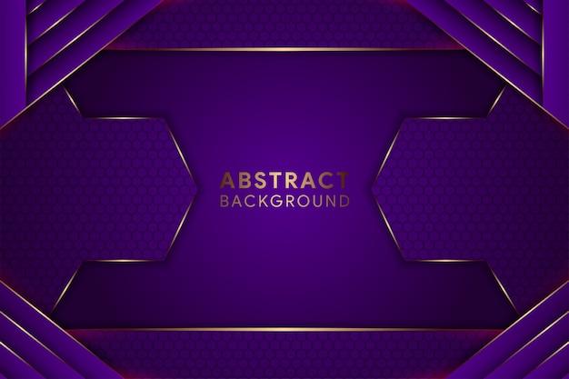 Абстрактный геометрический фиолетовый фон. горизонтальная компоновка использует шестиугольник. золотой элемент кривой.