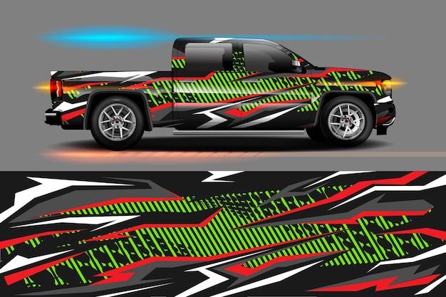 ビニールラップとデカールの抽象的な幾何学的なレーシング背景