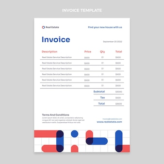Abstract geometric real estate invoice