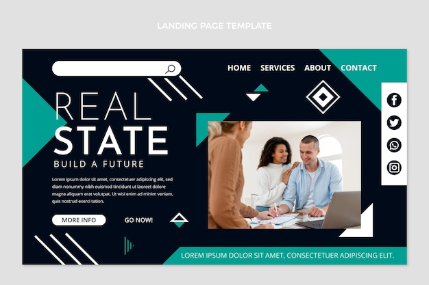 Abstract geometric real estate landing page