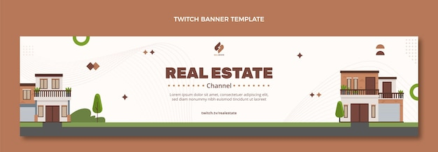 Abstract geometric real estate twitch banner