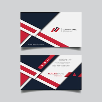 Abstract geometric red business card design template